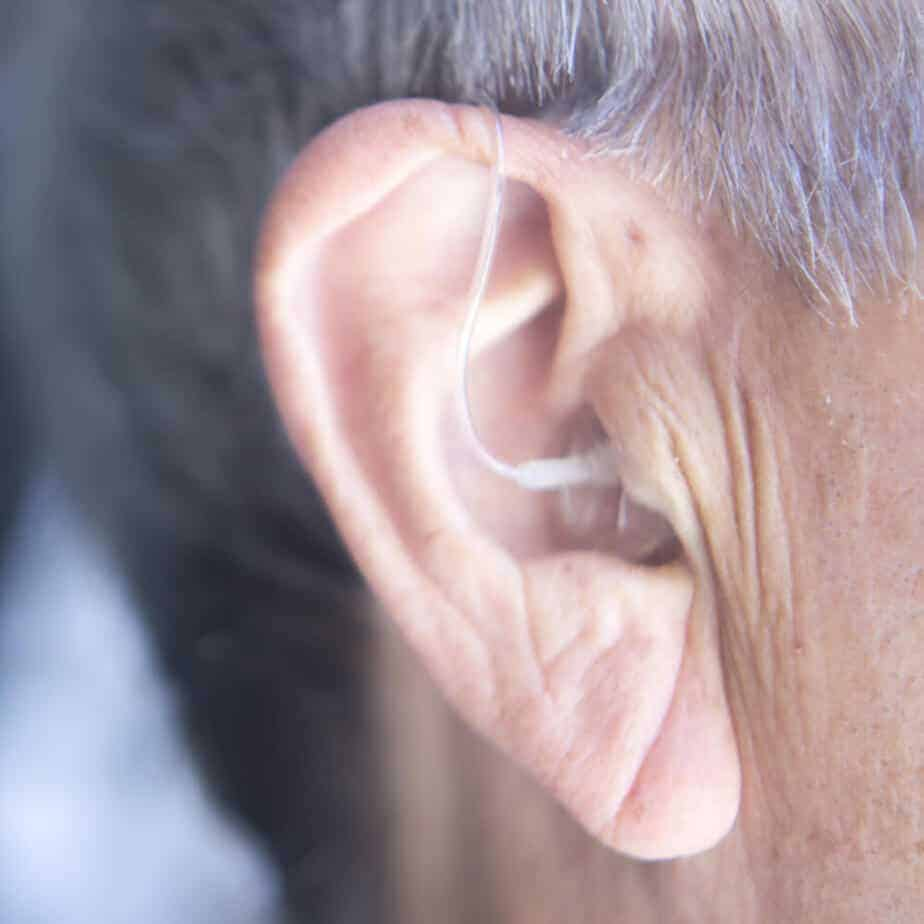close up of hearing aids