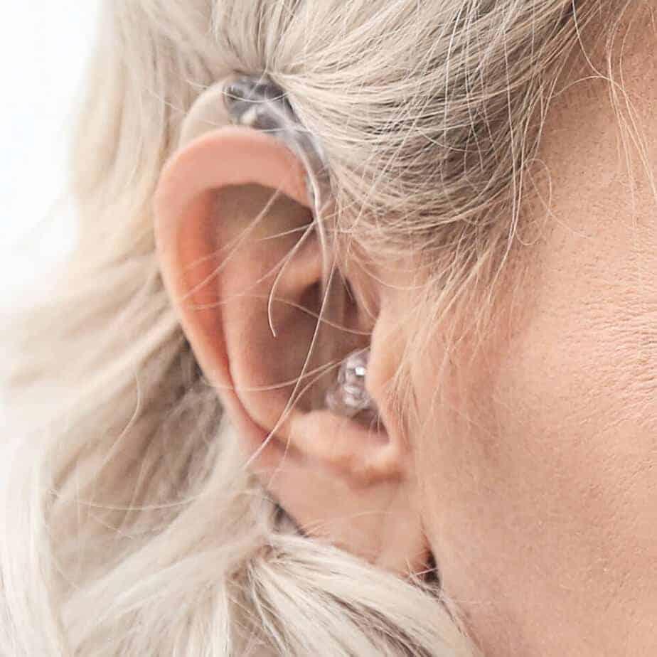 woman wearing a hearing aids